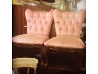 2 vintage bedroom chairs