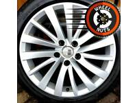 "17"" Genuine Seat (VW Skoda) alloys good cond new Pirellis."