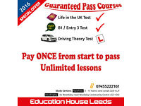Life in UK Test / Driving Theory Test / B1, ESOL Entry 3,Test ( LEEDS )