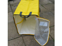 Very large and strong foldable storage bag with zippable see through top