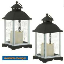 FREE NEXT DAY DELIVERY LED Candle Lantern Black Glass & Metal Candle Holder Home Decor Glitter Text