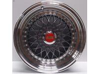 "BBS RS Grey 15"" inch Alloy Wheels 7J 8J 4x100/108 ET25 VW Golf Polo Fiat NEW**"