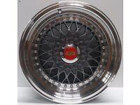 "BBS RS Grey 15"" inch Alloy Wheels 7J 8J 4x100 / 108 ET25 VW Golf Polo Fiat Audi A1 alfa bmw 3 4t0e"
