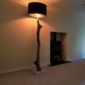 Weathered Rustic Oak Floor Light Lamp