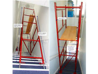 Stair Scaffolding for stairwell, platform height lower end 10 feet. Can also stand on level ground.