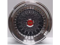 "Brand New BBS RS Grey 15"" inch Alloy Wheels 7J, 8J, 4x100/108, VW, GOLF, POLO, CADDY, MX5, LUPO, A1,"