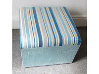 Footstool with storage, Blue & White
