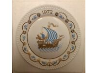 Spode Christmas Plate 1972 - I saw Three Ships come sailing