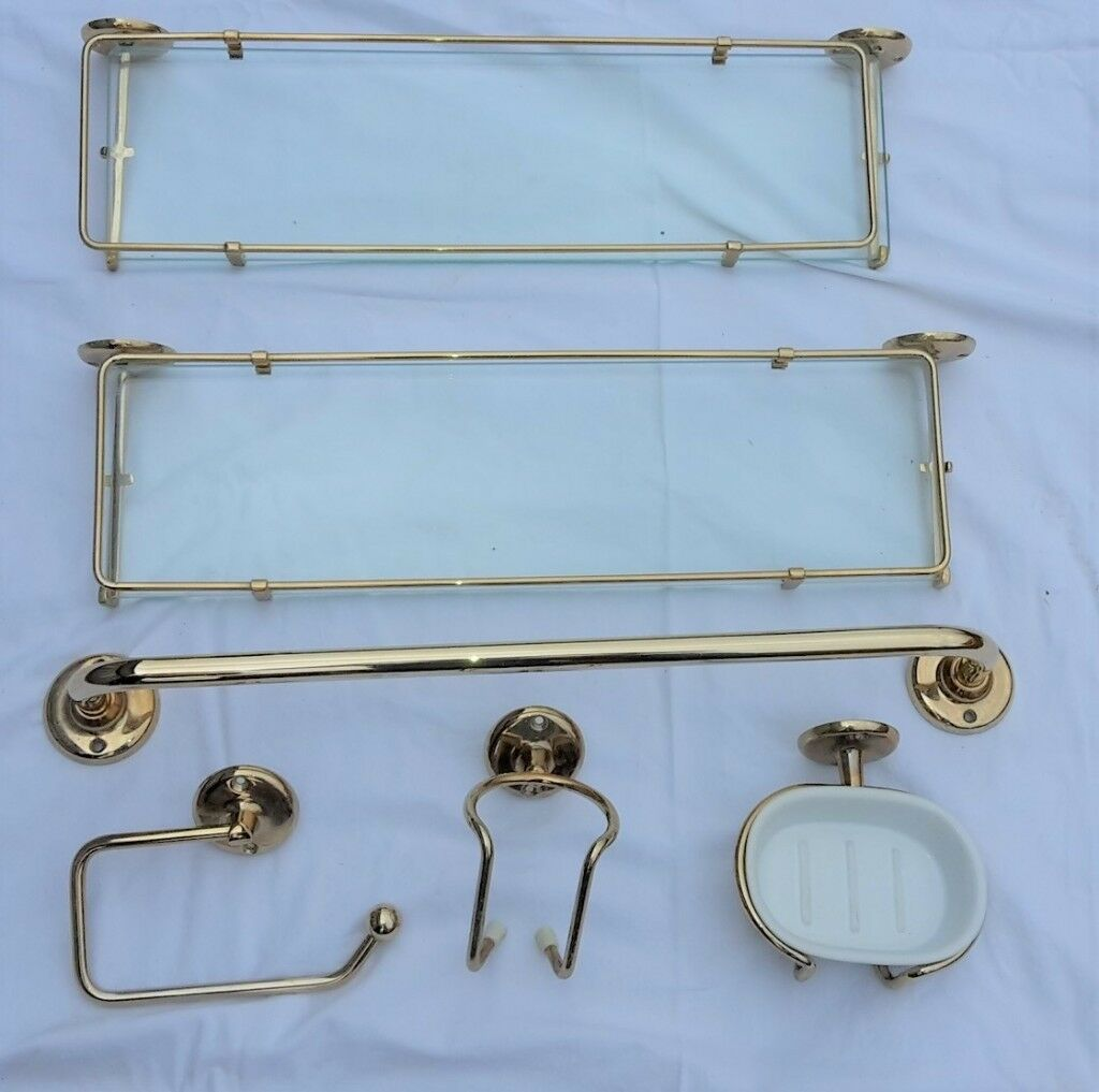 Brass bathroom accessories. 6-piece set: shelves, towel rail etc ...