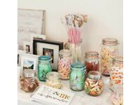 Mason jars and glass decorative jars - ideal for weddings