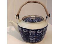 Oriental Teapot in Blue Floral Pattern