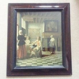 Lovely Old Vintage Art Print Of A Domestic Scene By Dutch Artist Pieter De Hooch.