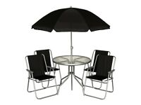 Kingfisher 6-Piece Garden Furniture Set - Black