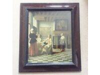 Delightful Old Vintage Art Print Of A Domestic Scene By Dutch Artist Pieter De Hooch.