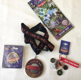 Alton Towers Merlin Ltd Ed Large Pin Badge Key Chain Metal Ride Logo Sharms Ripsaw Medal Theme Park