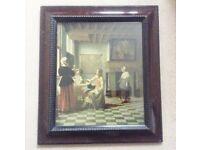 Delightful Old Vintage Art Print Of A Domestic Scene By Dutch Artist Pieter De Hooch.
