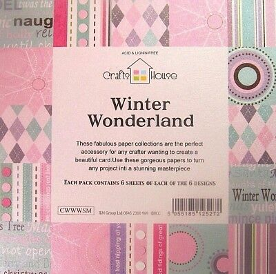 WINTER WONDERLAND~6''x 6'~ PATTERNED~SHIMMER PAPER PACK~36 SHEETS~6 DESIGNS~