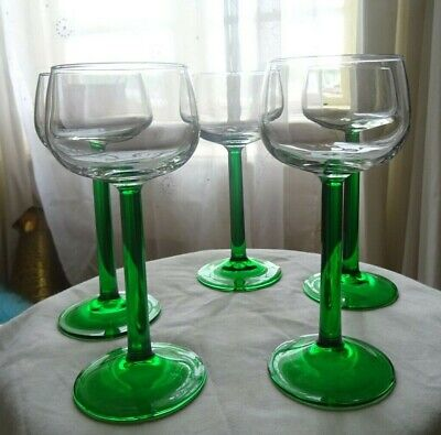 Set of 5 green stemmed hock/wine glasses 175 ml Hock Wine Glass