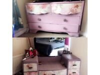 Vintage shabby chic dressing table and drawers