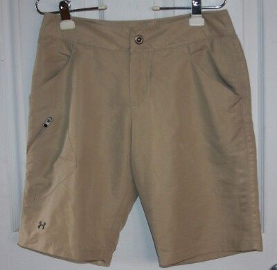 Under Armour Performance Walking Shorts 6 Tan Khaki 100% Polyester