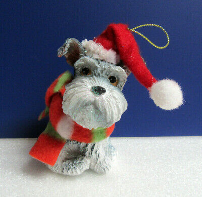 Scottish Terrier Scottie Wearing Santa's Hat with Scarf Christmas Resin Ornament