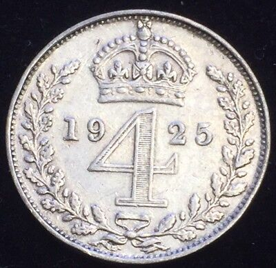 .500 Silver 1925 King George V Maundy 4 Pence