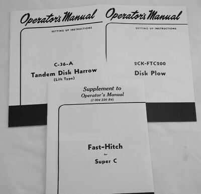 3 Owners Manuals Farmall Super C Fast Hitch Ih 2 Point Disc Plow Disk Harrow