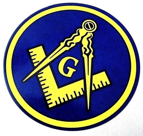 "1 Freemason Car Decal 3.5"" Masonic Logo Mason Sticker Gift window master blue"