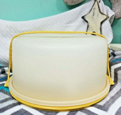 "Vintage Tupperware Round 12"" Cake Carrier, Pie Tray w/ Harvest Gold Handle NICE"
