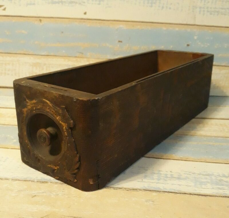 Antique treadle sewing machine drawer with decorative front box wooden Vtg