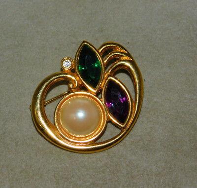 Marquise Strass Perle Grün Violett Goldfarben Mardi Gras Nola Brosche 10j 13