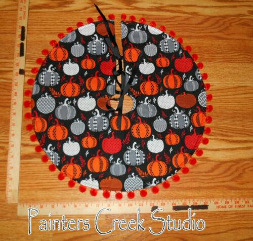 "NIGHT PUMPKIN,pumpkins,Autumn,Halloween,Fall,Handmade Mini Tree Skirt,18"" dia"