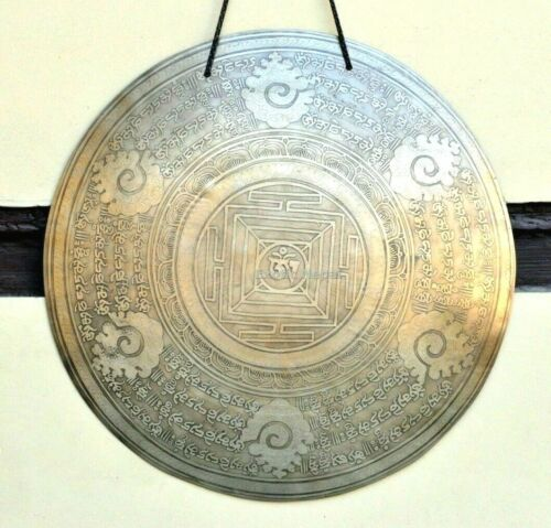 20 inches Diameter Handmade Gong From Nepal-mantra carved-Tibetan Gong-Nepal