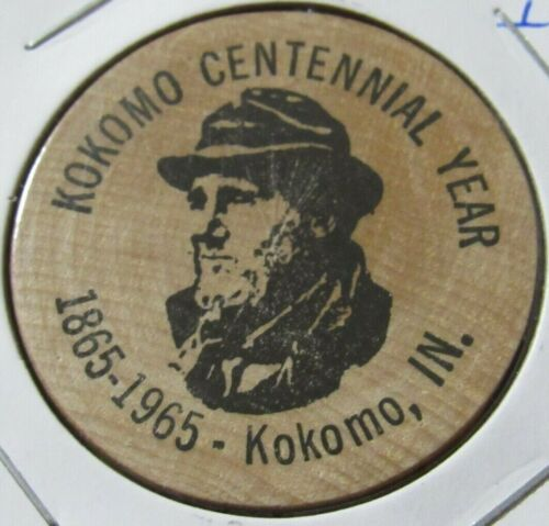 1965 Kokomo, IN Centennial Year Wooden Nickel - Token Indiana
