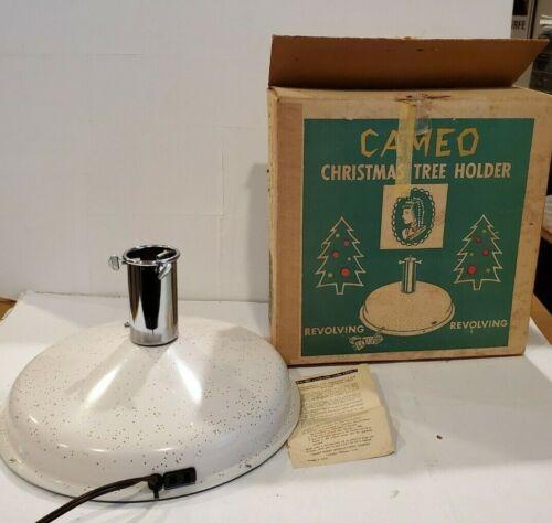 VTG Cameo Revolving Aluminum Christmas Tree Holder Stand music Jingle bells.