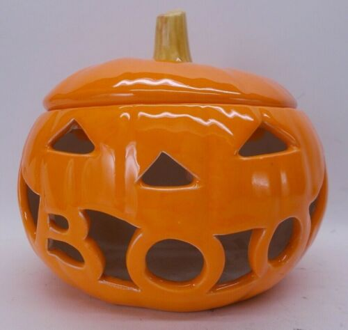 """4"""" Pumpkin Jack O Lantern Candle Holder With Lid The Mouth Says BOO Halloween"""