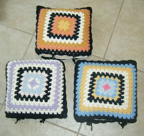 Lot of 3 Vintage Granny Square Pillow Covers