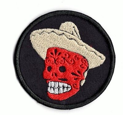 Mexican Sugar Skull Sombrero Patch Iron on to sew on patch