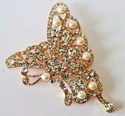 Absolute Beautiful Butterfly Rose Gold Tone with Crystals & Pearls Brooch