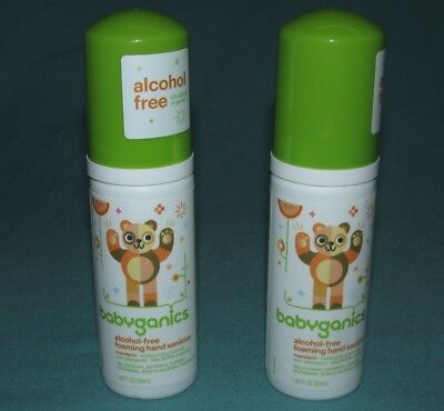 2 NEW = BABYGANICS ALCOHOL FREE FOAMING HAND SANITIZER MANDARIN 1.69 OZ  3/2020