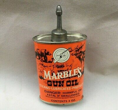 Vintage MARBLE'S GUN OIL HANDY OILER LEAD TOP Rare Old Advertising Tin Can