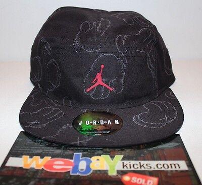 b84769c5e7a Air Jordan Kaws IV 4 Black Gray Grey Exclusive Strapback Cap Hat New