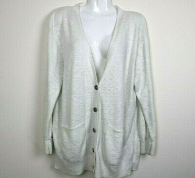 Madewell Womens Sweater Cardigan Long Sleeve Pockets Buttons V Neck White XL EUC Pocket V-neck Cardigan