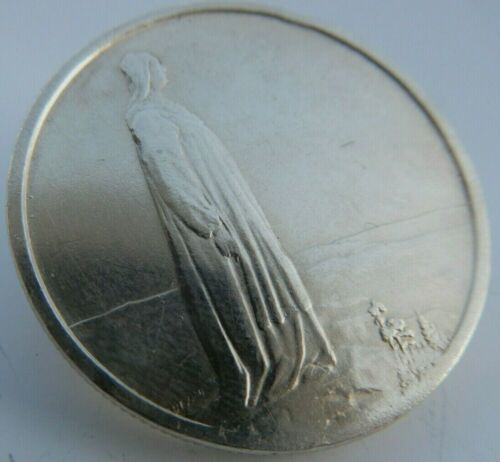 1914 NORWAY KING Haakon VII Norwegian Constitution Silver 2 Kroner Coin Pin