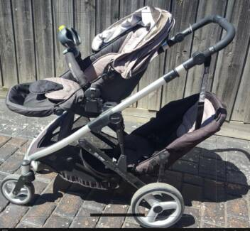 Steelcraft strider compact double pram with accessories