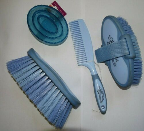 New Equestria Sport Horse Grooming Lot Body Brush Face Comb Curry Blue 4pc