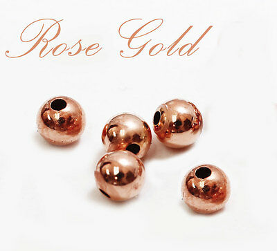 14k Gold Rose Beads - 14k solid ROSE PINK gold 5mm 6mm 7mm  round polish beads  (price for 5 pieces )