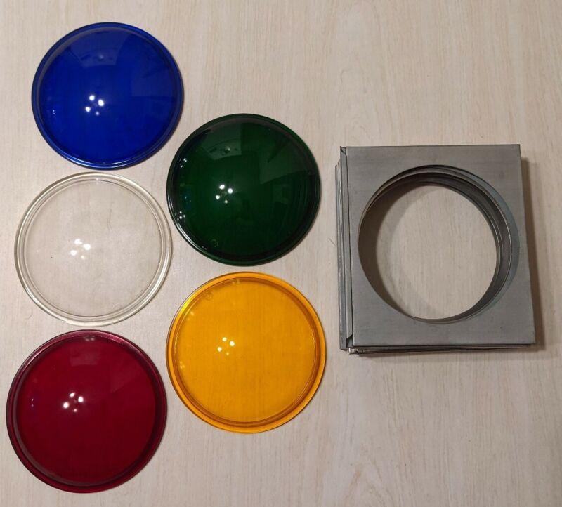 "Lot of 5 Vintage Kliegl Stage Lighting 5 1/2"" Colored Glass Rondel Lens w/ frame"