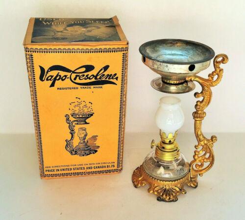 Antique Vapo Cresolene Oil Lamp, Cure All Medical Device in Original Box