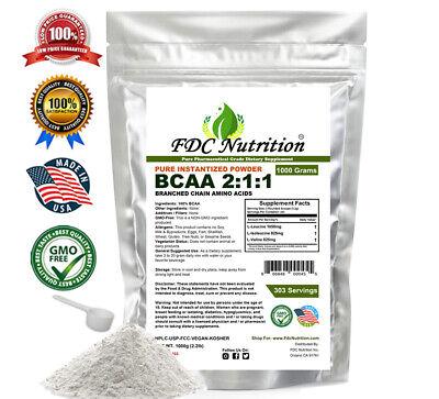 2.2 lb (1000g) AMINO ACIDS - BCAA FREE FORM - 1000g PURE KOSHER POWDER